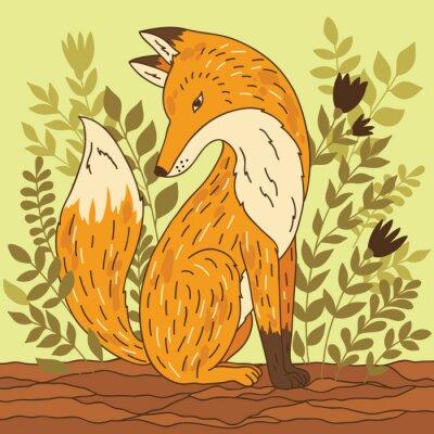 Nálepka Vektorové ilustrace s liškou