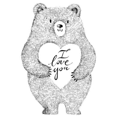 Nálepka Vektorové ilustrace s rozkošný roztomilý medvěd