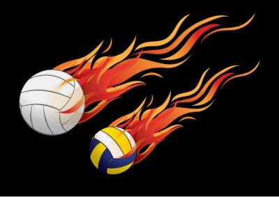 Nálepka vektorové ilustrace volejbalový Požární sport