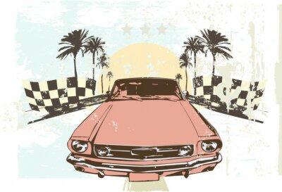 Nálepka Vektorové ilustrace - vysokorychlostní závodní auto na grunge pozadí