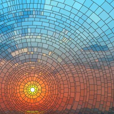 Nálepka Vektorové ilustrace západu slunce v moři.