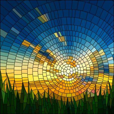 Nálepka Vektorové ilustrace západu slunce v trávě.