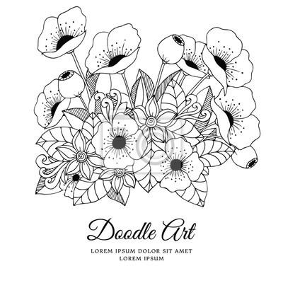 Vektorove Ilustrace Zentangl Kvetiny Mak Doodle Kresleni