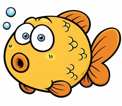 Nálepka Vektorové ilustrace zlaté rybky