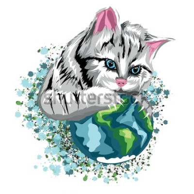 Nálepka Vektorové kočičí ekologický svět s kočičí planetou a sněhové skvrny, šedá kočka s modrýma očima.