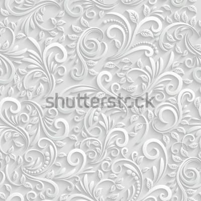 Nálepka Vektorové květinové 3d vzor bezešvé pozadí. Na vánoční a pozvánky dekorace