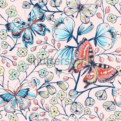 Nálepka vektorové květinový vzor bezešvé s vintage motýly a květiny