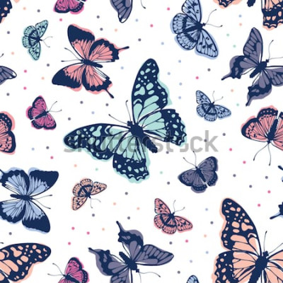 Nálepka Vektorové motýli vzor. Bezešvé pozadí abstraktní.