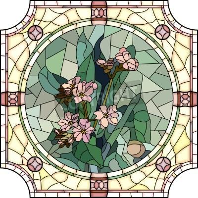 Nálepka Vektorové mozaika s velkými buňkami květy forget-me-not s pupeny v kruhové Vitráž rámu.