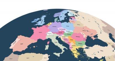 Nálepka vektorové planety Země zeměkoule s blízké Evropy kontinentu