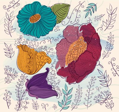 Nálepka Vektorové pozadí s krásnými barevnými květy a listy