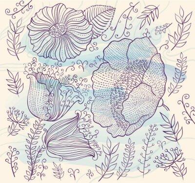 Nálepka Vektorové pozadí s krásnými květy a listy