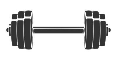 Nálepka Vektorové ručně tažené silueta činka izolovaných na bílém pozadí. Šablona pro sportovní ikonu, symbol, logo nebo jiné značky. Moderní retro ilustrace.