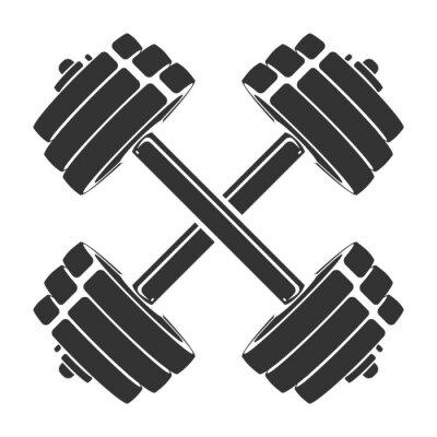 Nálepka Vektorové ručně tažené silueta překřížené činky izolovaných na bílém pozadí. Šablona pro sportovní ikonu, symbol, logo nebo jiné značky. Moderní retro ilustrace.