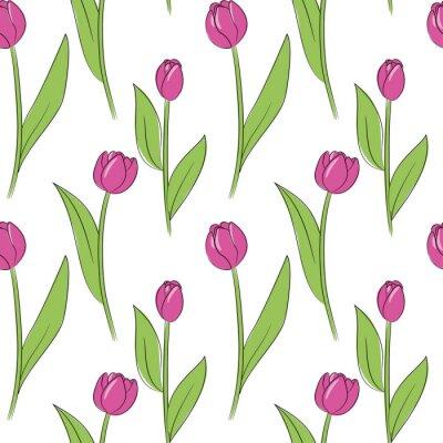 Nálepka vektorové růžové jednoduché tulipány květiny bezešvé vzor