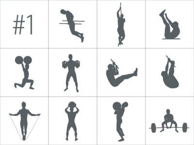 Nálepka Vektorové siluety lidí, kteří dělají fitness a Crossfit cvičení