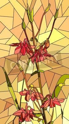Nálepka Vektorové vertikální mozaika s velkými buňkami v Columbine květin na žluté.