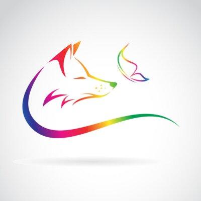 Nálepka Vektorový obrázek lišky a motýl na bílém pozadí