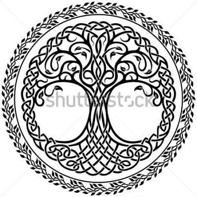Nálepka Vektorový ornament, zdobení keltského potoka života s květinovým okrajem
