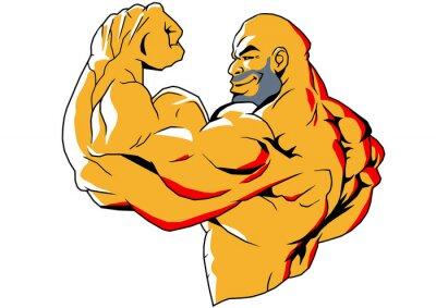 Nálepka velké biceps, ilustrace, barvy, logo, izolovaných na bílém