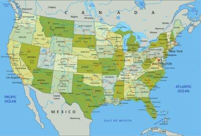 Nálepka Velmi podrobné editovatelné politická mapa s oddělenými vrstvami. Spojené státy americké.