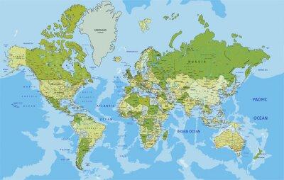 Nálepka Velmi podrobné politická mapa světa s značení.