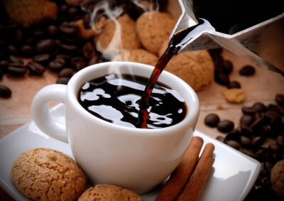 Nálepka versare il caffè caldo Nella tazzina Bianca