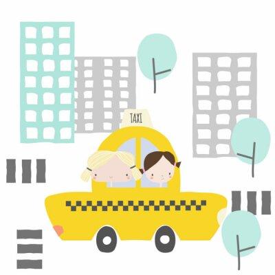 Nálepka Veselé přítelkyně při taxi jízdě do města. Děti grafiku. Vektor ručně kreslené ilustrace.