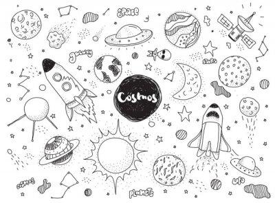 Nálepka Vesmírné objekty set. Ručně kreslenými vektorové čmáranice. Rakety, planety, souhvězdí, ufo, hvězdy, atd Space téma.