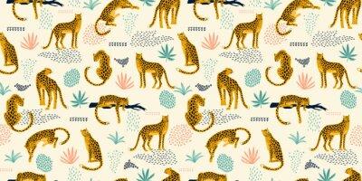 Nálepka Vestor bezešvé vzor s leopardy a tropické listy.