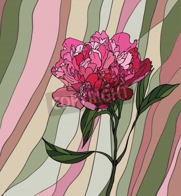Nálepka Vícebarevný barevné sklo s květinovým motivem, je pivoňka na vícebarevné pruhované pozadí