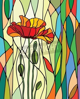 Nálepka Vícebarevný barevného skla s květinovým motivem