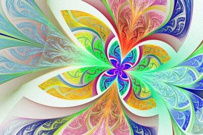 Nálepka Vícebarevný fraktální květiny, nebo motýl pozadí v mořeného-g
