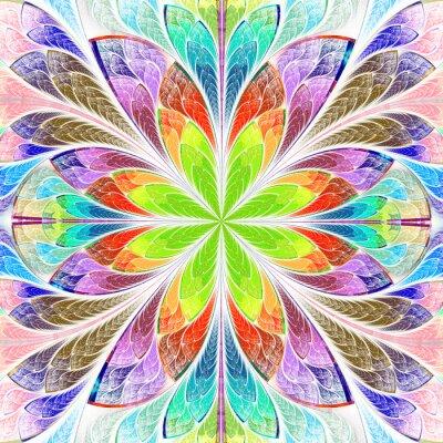 Nálepka Vícebarevný symetrické fraktální květiny v okně z barevného skla