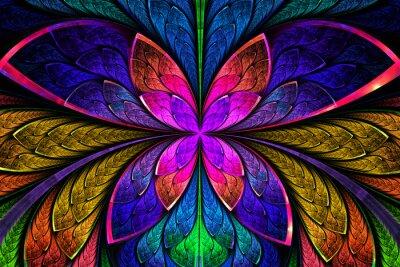 Nálepka Vícebarevný symetrické fraktální vzor jako květiny nebo motýla