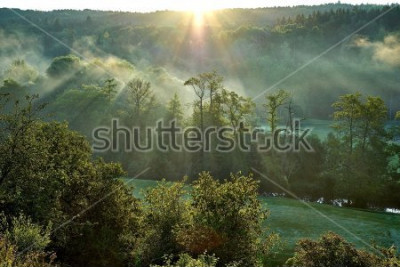Nálepka                                View on fairways of Greens gate golf course, Early morning sun beams