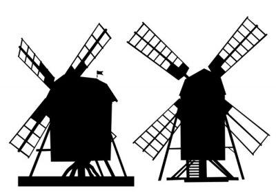 Nálepka Village starý mlýn na bílém pozadí