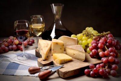 Nálepka Víno, hrozny a sýrem
