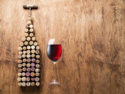 Nálepka Víno zátky ve tvaru láhev vína.