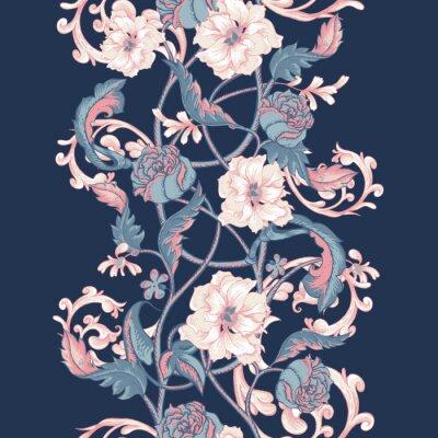 Nálepka Vintage bezešvé hranice s kvetoucí magnólií, růže a větviček