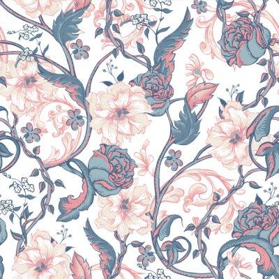 Nálepka Vintage bezproblémové vzorek s kvetoucí magnólií, růže a větvičku