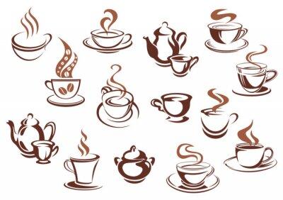 Nálepka Vintage brown coffee cups and pots