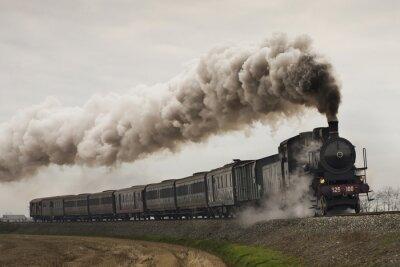 Nálepka vintage černá parní vlak