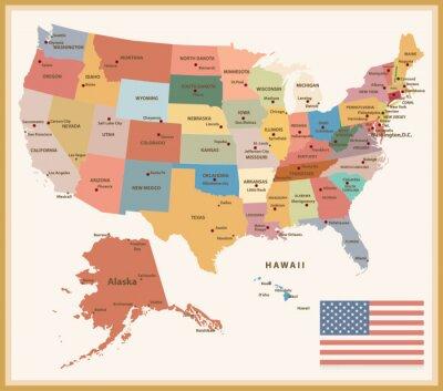 Nálepka Vintage Color Politická mapa USA