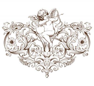 Nálepka Vintage dekorativní prvek rytina s barokním ornamentem a Cupid