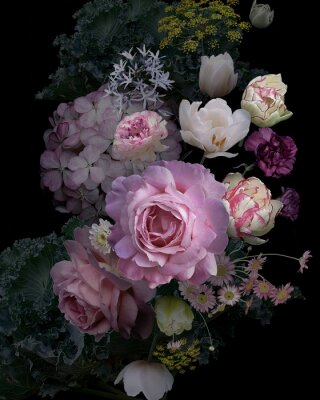Nálepka Vintage garden flowers and decorative herbs on black background.