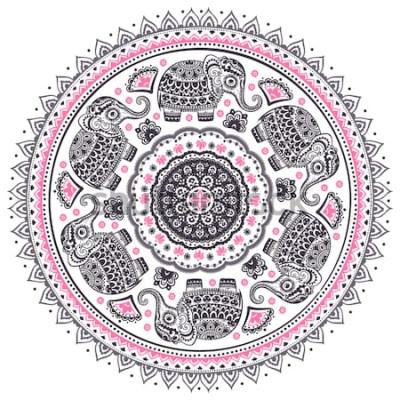 Nálepka Vintage grafický vektor indický lotos roztomilý etnický slon mandala vzor. Africký kmenový ornament. Lze použít pro omalovánky, textil, tisky, pouzdro na telefon, přání, vizitky
