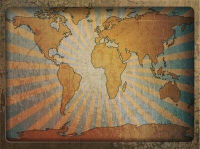 Nálepka Vintage karty mapa světa
