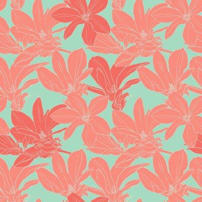 Nálepka Vintage Magnolia květiny bezešvé vzor.