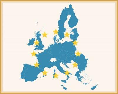 Nálepka Vintage Mapa Evropské unie s vlajkou EU